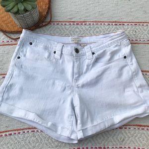 J. Crew white raw hem jean shorts size 10